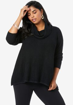 Thermal Cowl-Neck Sweater, BLACK