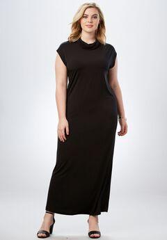 Slouchy Turtleneck Dress, BLACK, hi-res
