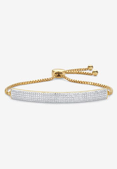 """Gold-Plated Bolo 9"""" Bracelet with Diamond Accents,"""