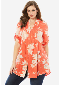 English Floral Tunic with Pintucks, DUSTY CORAL PRINT, hi-res
