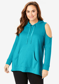 Cold-Shoulder Hooded Pullover,