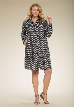 Kate Dress, BLACK WHITE PRINT, hi-res