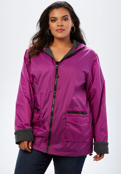 Hooded Nylon Jacket, RICH MAGENTA