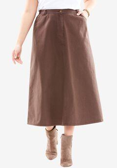 Denim A-line Skirt, CHOCOLATE, hi-res