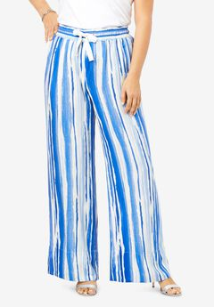 Drape Wide-Leg Pant, BLUE WATERCOLOR STRIPE