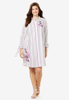 Tie-Sleeve Kate Shirtdress, PURPLE EMBROIDERED STRIPE