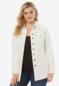 Long Jean Jacket, WHITE DENIM, hi-res