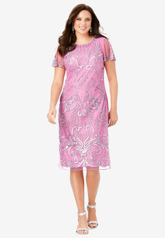 Embellished Sheath Dress, MAUVE ORCHID