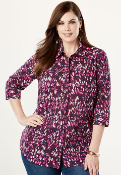 Three-Quarter Sleeve Kate Shirt, MAGENTA GRAPHIC ANIMAL