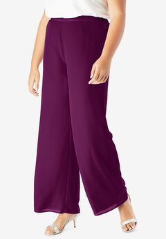 Georgette Wide-Leg Dress Pant, DARK BERRY