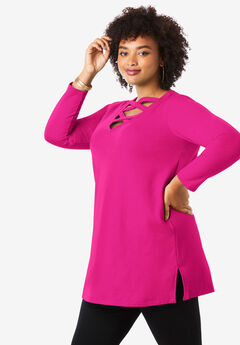 Crisscross Maxi Tunic Sweatshirt, VIVID PINK
