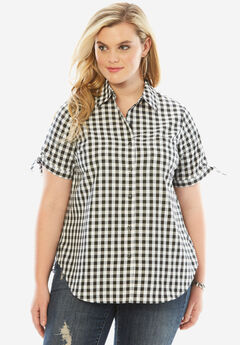 Gingham Shirt with Sleeve Ties, BLACK CHECK, hi-res