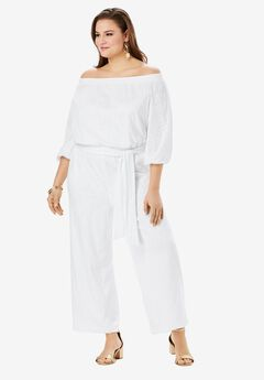 Off-the-Shoulder Crop Jumpsuit,