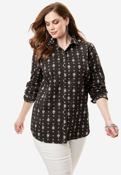The Kate Shirt, BLACK PAISLEY, hi-res