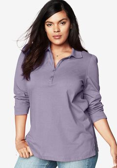 Polo Long Sleeve Ultimate Tee, DARK LAVENDER, hi-res