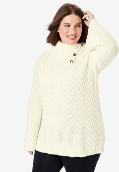 Button Cowl-Neck Sweater with Flared Sleeves, IVORY