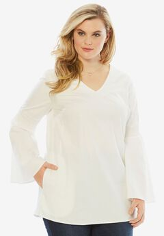 Denim Bell-Sleeve Tunic, WHITE, hi-res