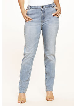 Straight Leg Jean with Invisible Stretch® by Denim 24/7®, LIGHT STONEWASH SANDED
