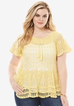 Flutter Sleeve Crochet Sweater, SUN BLEACH YELLOW, hi-res