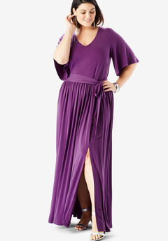 Belted Maxi Dress with Flutter Sleeves, PLUM PURPLE