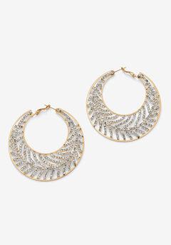 Goldtone Round Crystal Leaf Hoop Earrings,