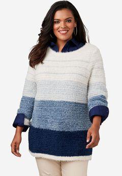 Eyelash Ombre Stripe Sweater, BLUE MULTI, hi-res