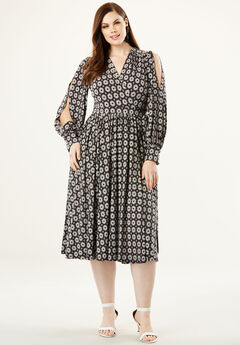 Long Sleeve Wrap Dress with Balloon Sleeves, BLACK MEDALLION PRINT