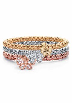 Rose Gold-Plated Butterfly Charm Stretch Bracelet Set,