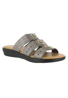 Nori Sandals by Easy Street®, PEWTER METALLIC, hi-res