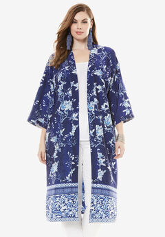 Reversible Printed Kimono Jacket, WHITE NAVY PORCELAIN, hi-res