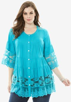 Illusion Lace Tunic, VIBRANT TURQ, hi-res