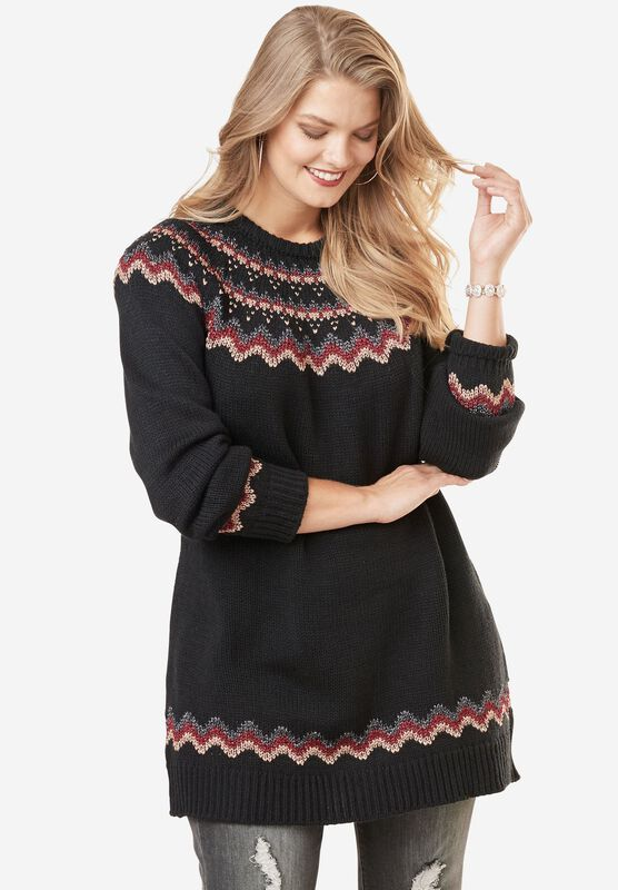 Metallic Fair Isle Sweater | Plus Size Sweaters | Roaman's