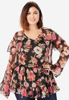 Ruffle Keyhole Tunic with Bell Sleeves, BLACK MULTI FLORAL