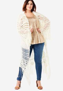 Fringe Cardigan with Kimono Sleeves,