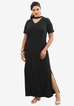 Banded Neck Dress,