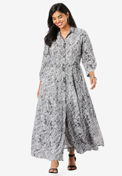 Flowing Button-Front Dress, GRAY SNAKE