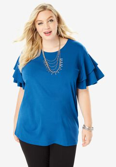 Scoopneck Ruffle-Sleeve Top, COBALT BLUE