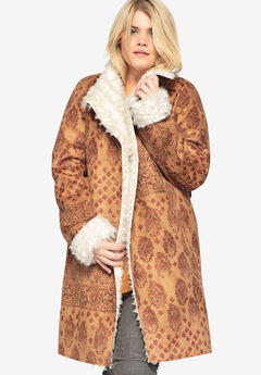 Printed Faux-Shearling Coat With Shawl Collar by Castaluna,