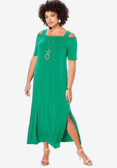 Ultrasmooth® Cold-Shoulder Maxi Dress, TROPICAL EMERALD