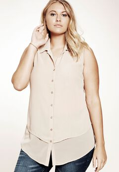Felicity Sleeveless Shirt, NEW KHAKI, hi-res
