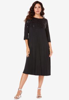 Ultrasmooth® Fabric Embellished Swing Dress,