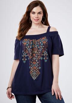 Embroidered Cold-Shoulder Top, NAVY TRIBAL, hi-res