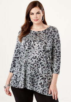 Asymmetric Maxi Tunic, HEATHER GREY LEOPARD