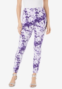 Ankle-Length Essential Stretch Legging, LAVENDER GRAPHIC FLORAL
