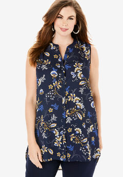 Sleeveless Georgette Blouse with Side Slits, NAVY FOLKLORE