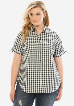 French Check Big Shirt, BLACK CHECK