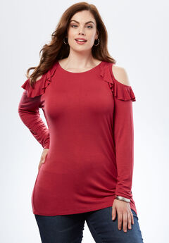 Ruffle Cold-Shoulder Tee, CRIMSON, hi-res
