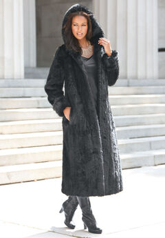 Full Length Faux-Fur Coat with Hood, BLACK