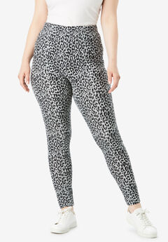 Essential Stretch Legging, GRAY ANIMAL PRINT