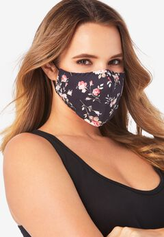 Women's Two-Layer Reusable Face Mask, BLACK FLORAL